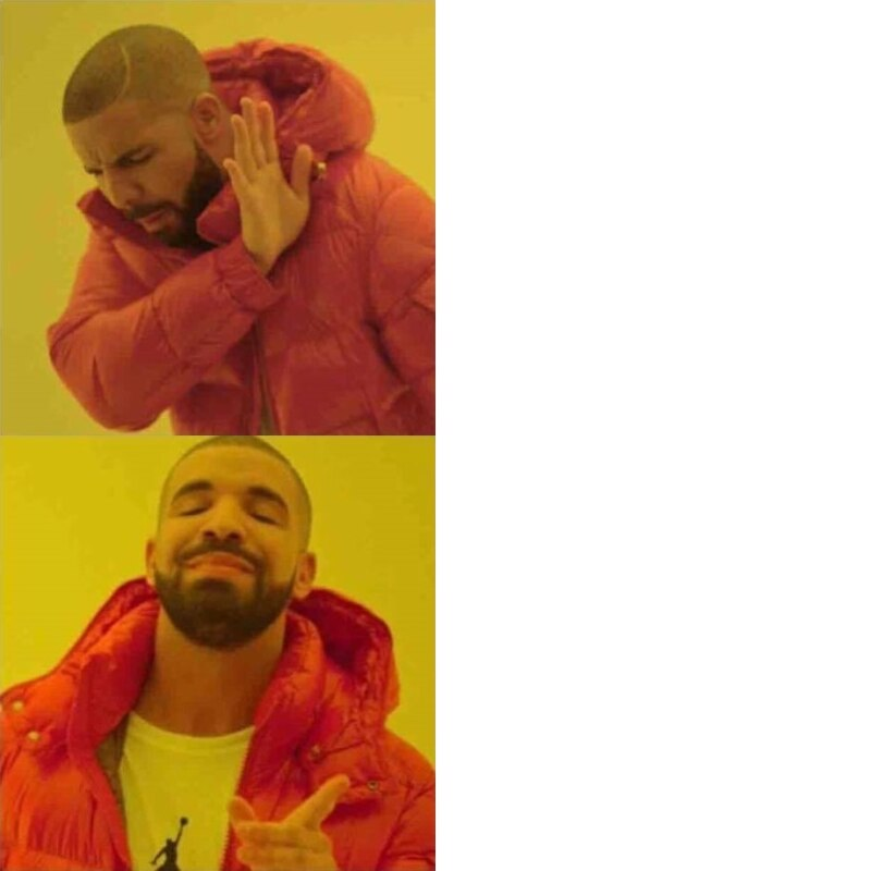 шаблон мема с Дрейком, чувак в оранжевой куртке, мем в куртке, мем дрейк, комикс дрейк, откуда мем про дрейка, drake, drakeposting, drake meme, drake hotline bling