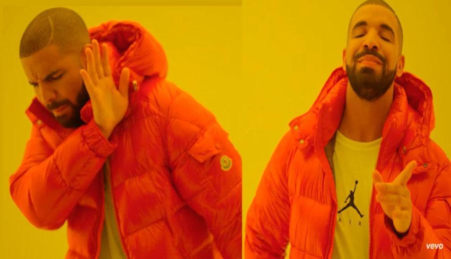 Мем с Дрейком в оранжевой куртке