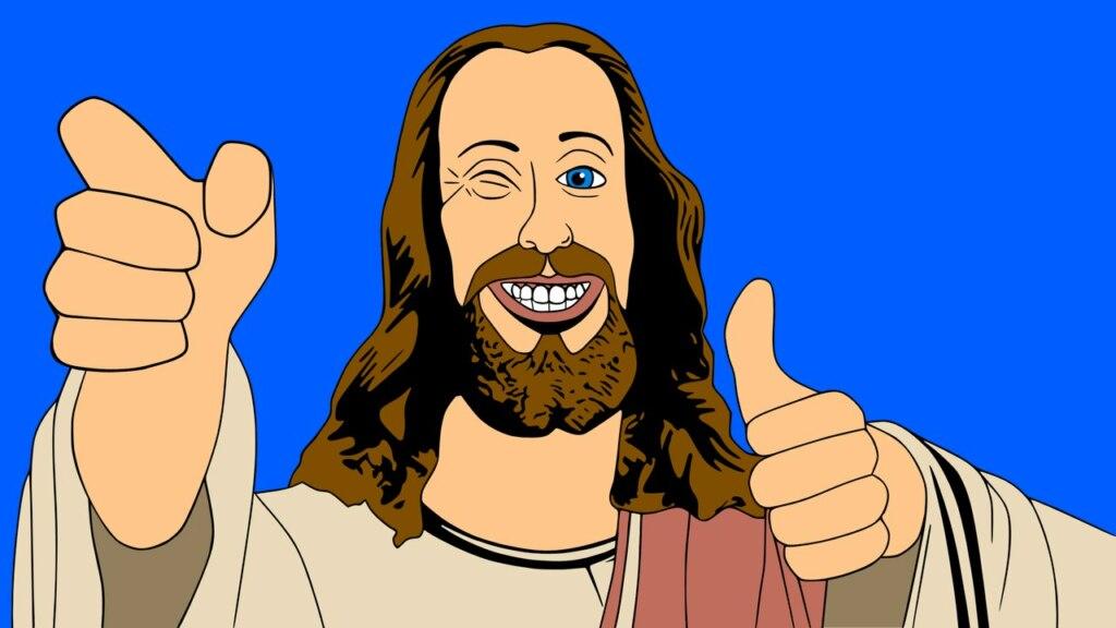мем иисус подмигивает