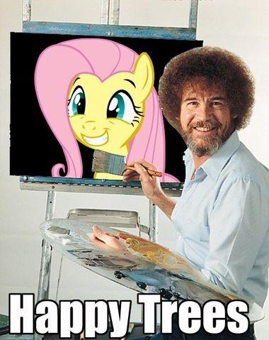 94755_-_bob_ross_bob_ross_is_best_pony_fluttershy_Fluttershy_is_a_tree_happy_tree_macro_painting