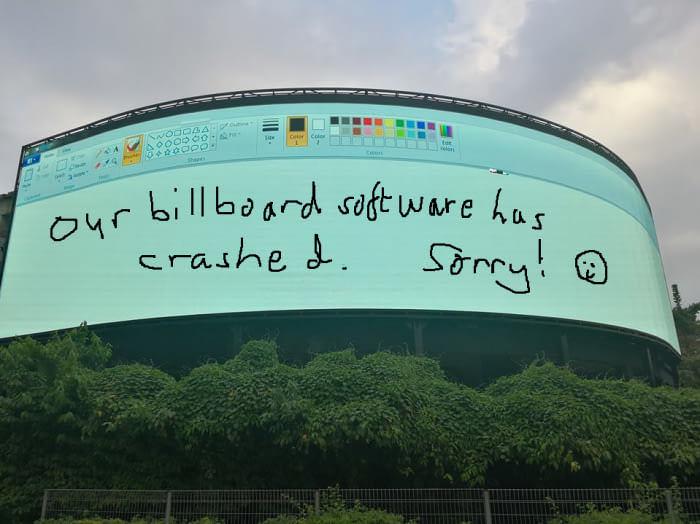 Мультимедийный билборд с Paint