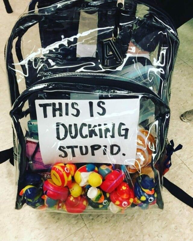 протест, прозрачный рюкзак, уточки