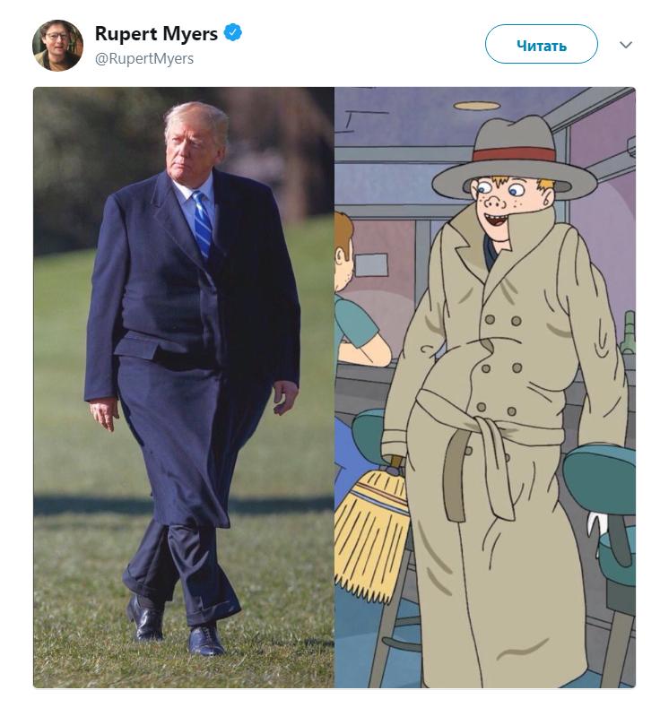 Толстый Трамп в пальто
