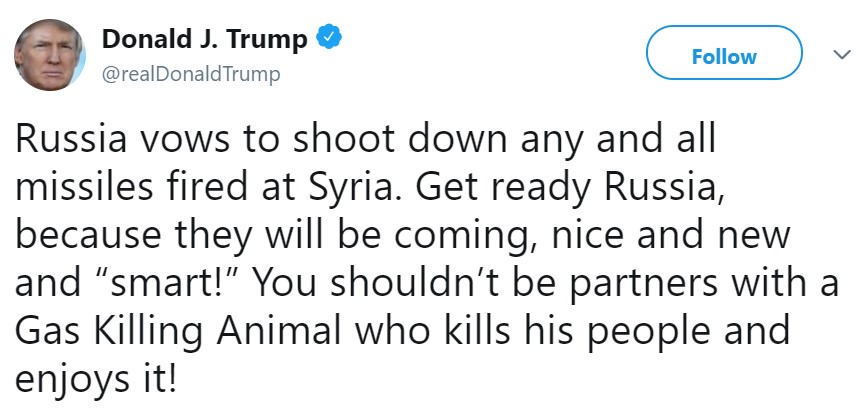 твит Трампа о ракетной атаке
