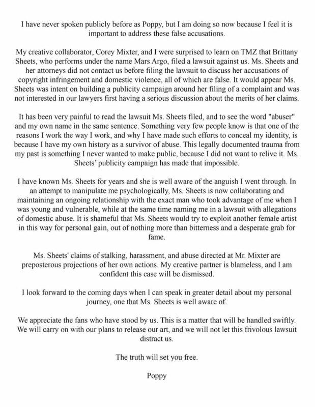Поппи ответила на обвинения в плагиате
