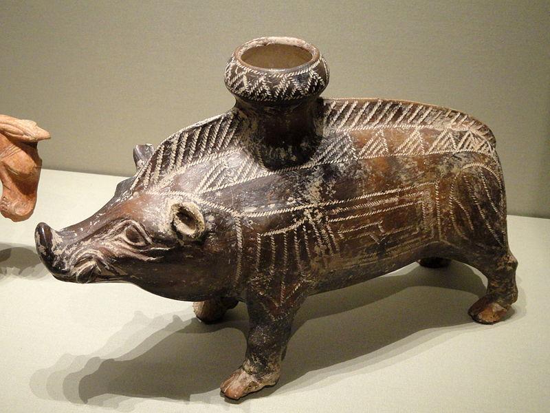 Сосуд в форме кабана, 6-5 век до н. э.,этруски, керамика