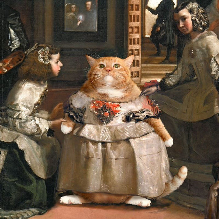 толстый кот на картинах