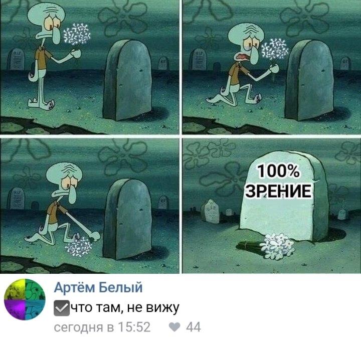 Сквидвард кладет цветы на могилу