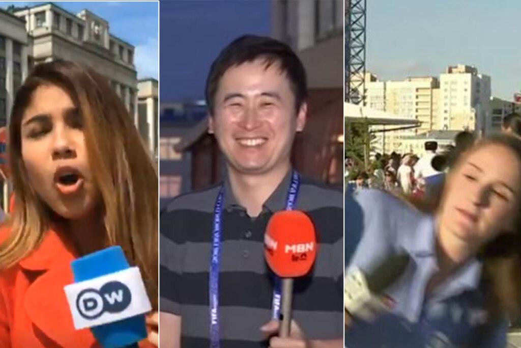 девушки целуют иностранного журналиста