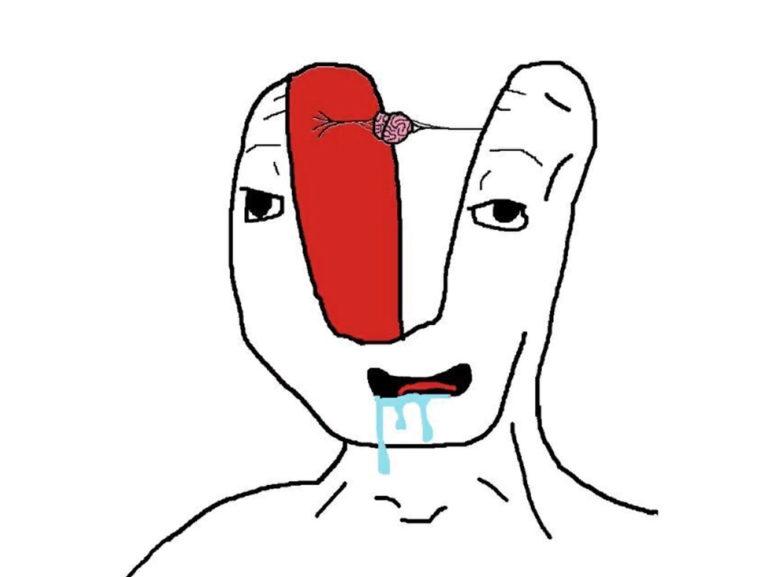 Картинка человек без мозга мем