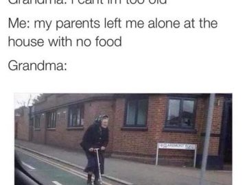 бабуля на самокате, дома одна мем