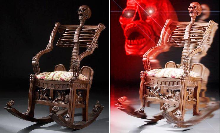 кресло-качалка в виде скелета и WAKE ME UP