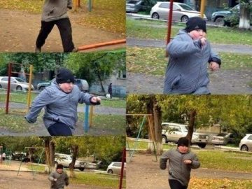 одна дома мем, толстый парень бежит