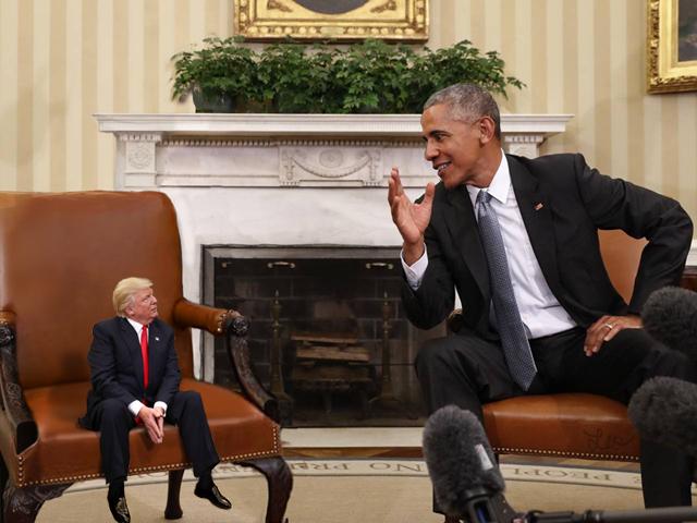 Tiny Trump Sitting Next to Barack Obama
