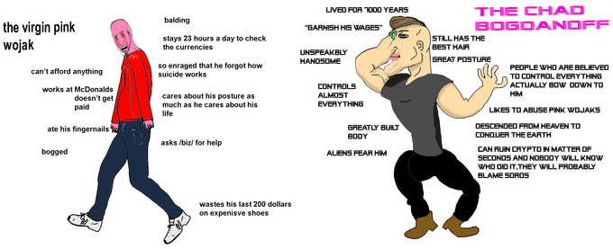 Chad Bogdanoff vs virgin pink wojak