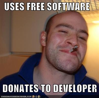Использует бесплатный софт - донатит разработчикам