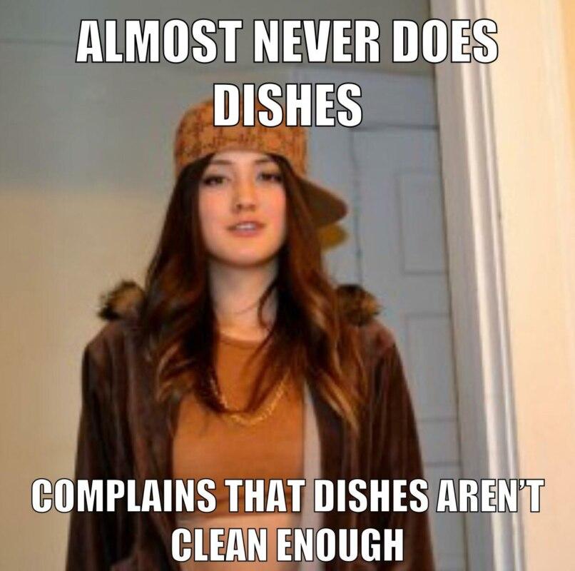 Не моет посуду - жалуется что тарелки недостаточно чистые