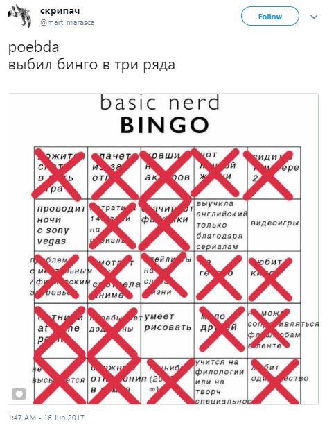 Русская карта бинго