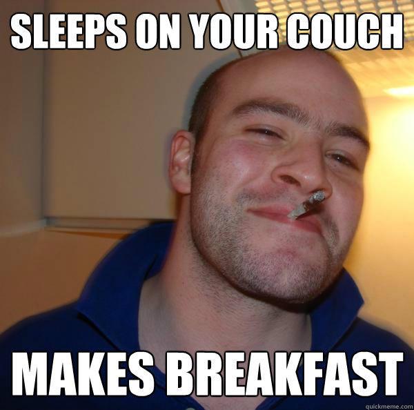 Спит на твоем диване - делает завтрак