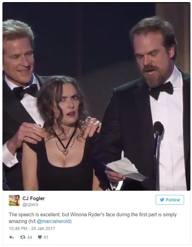 Winona Ryder's SAG Award Reaction - CJ Fogler's Tweet