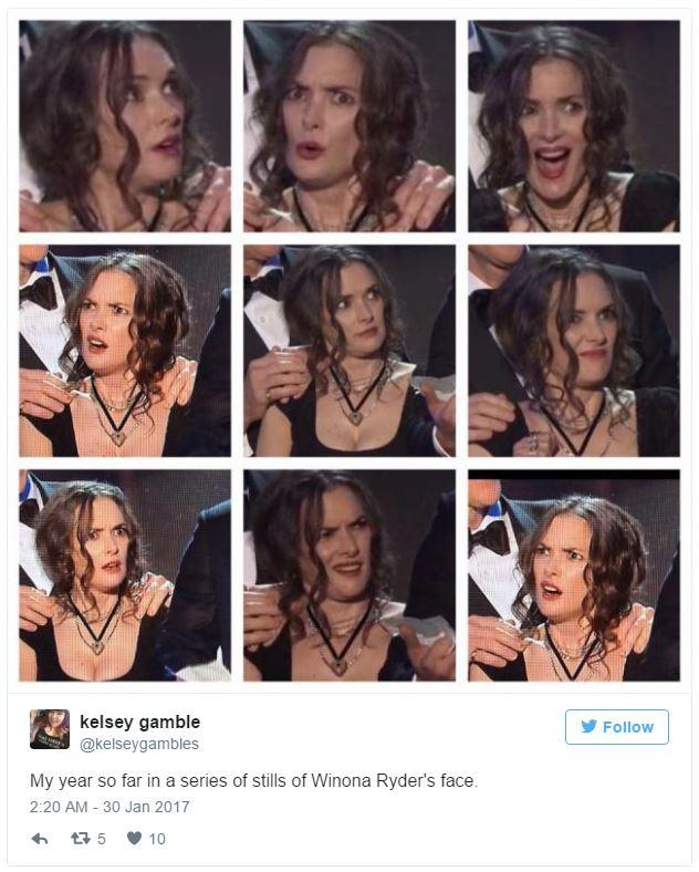 Winona Ryder's SAG Award Reaction - Kelsey Gamble's Tweet