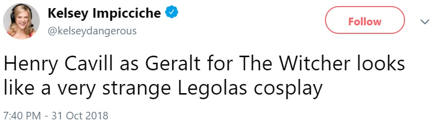 Кавилл в образе Геральта