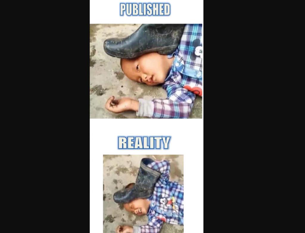 Мальчик с сапогом на голове