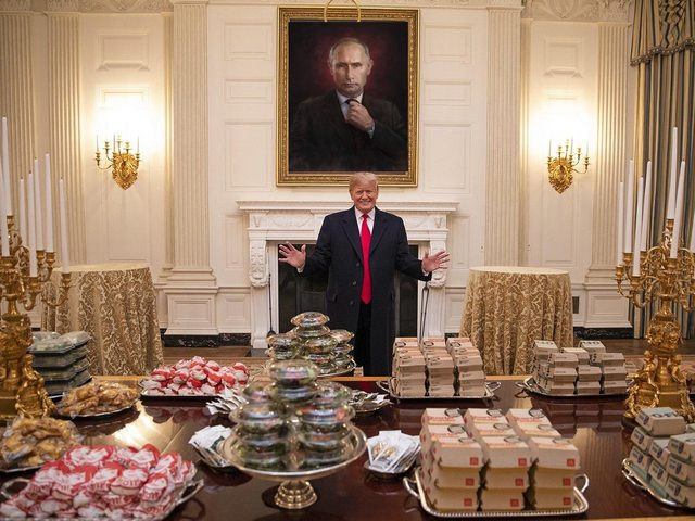 Trump with burgers meme