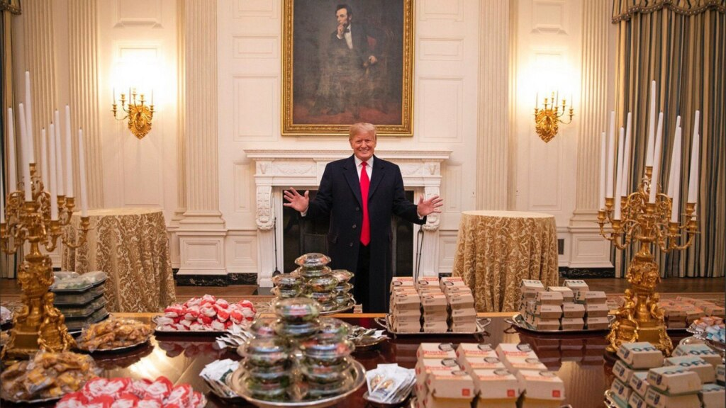 Trump with burgers meme template