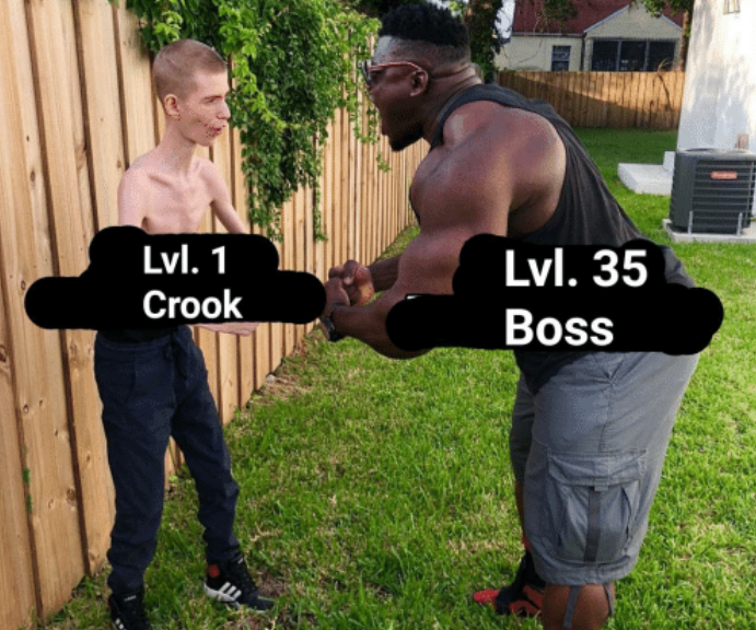 level 1 crook, level 35 boss
