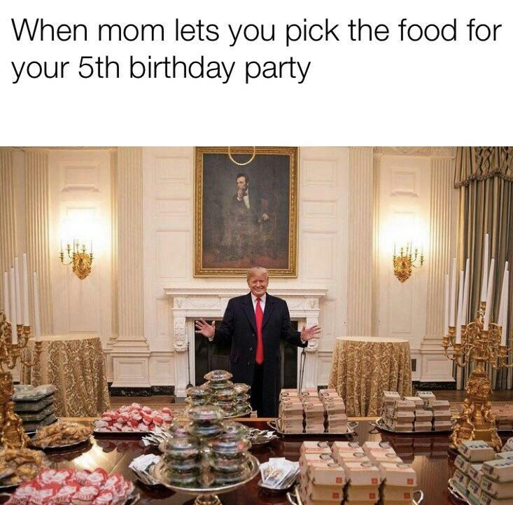 Trump serving burgers meme