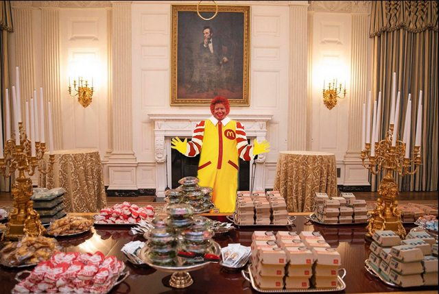trump serving fast food meme