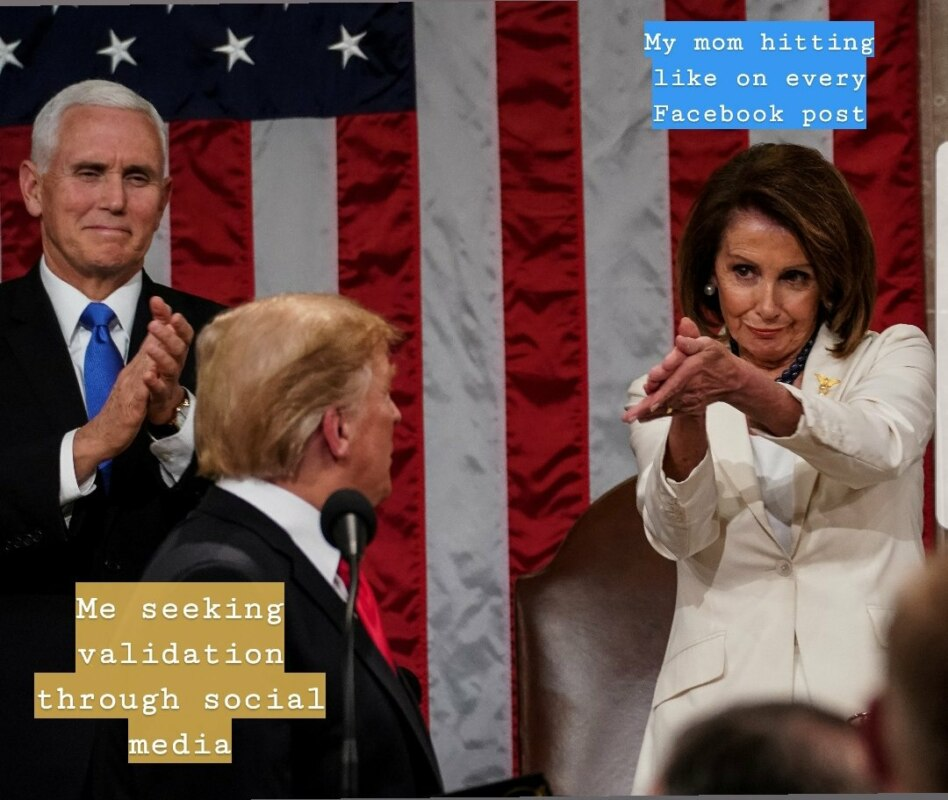 Pelosi applauding Trump