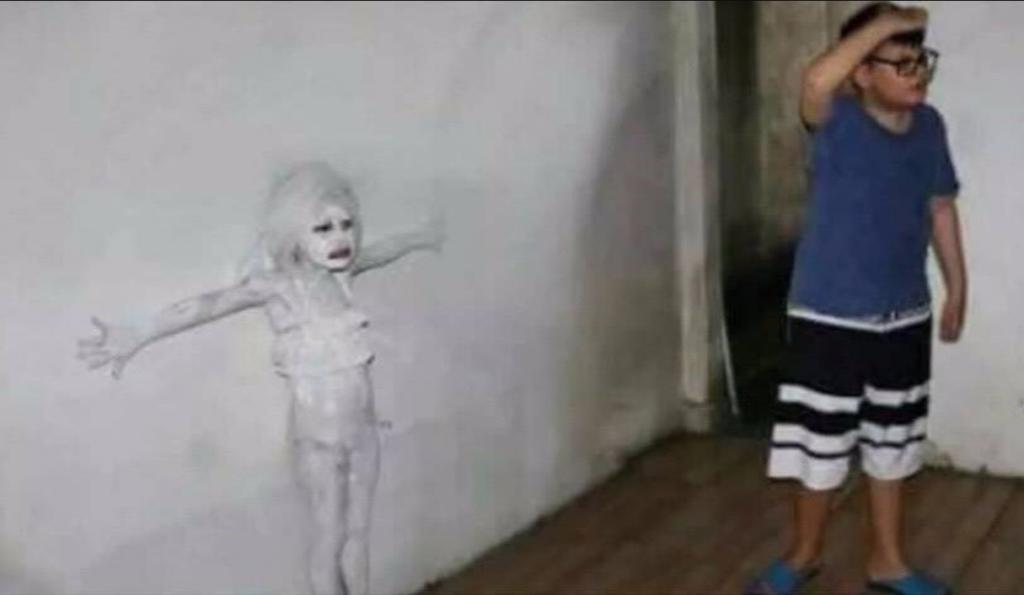 Мем девочка сливается со стеной