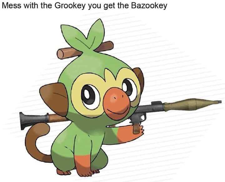 Pokemon Gun Meme Explained Memepedia Grookey is one of the starter pokémon available in pokémon sword & shield (releasing late 2019) along with scorbunny and sobble. pokemon gun meme explained memepedia