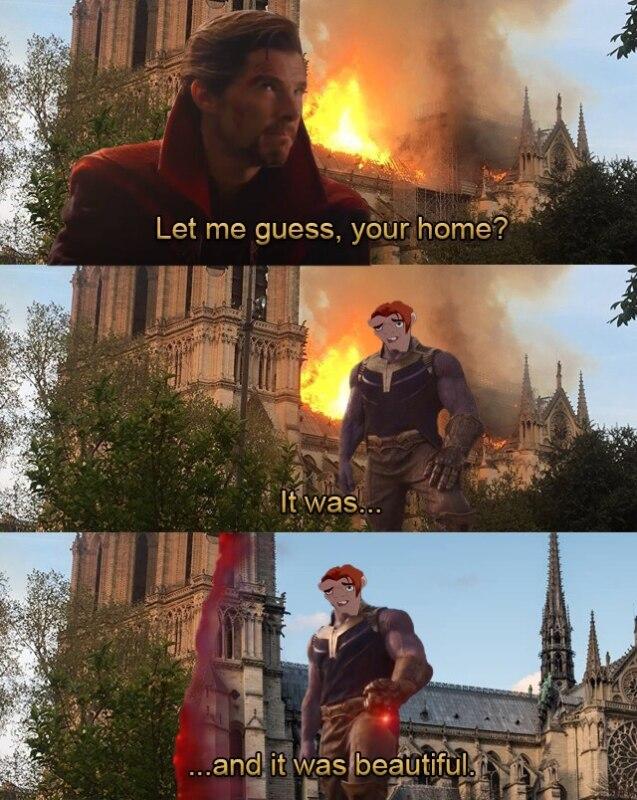 Мемы про сгоревший нотр дам де пари