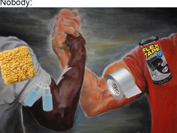 Мем с лапшой быстрого приготовления