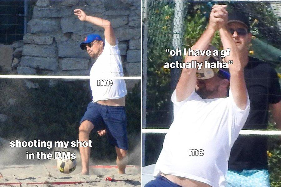 Ди Каприо играет в волейбол