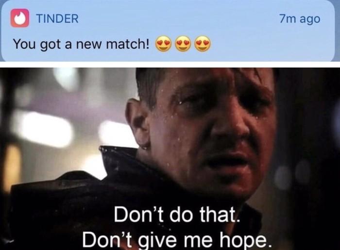 Don't give me hope meme Hawkeye from Endgame