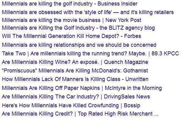 How millenials killed