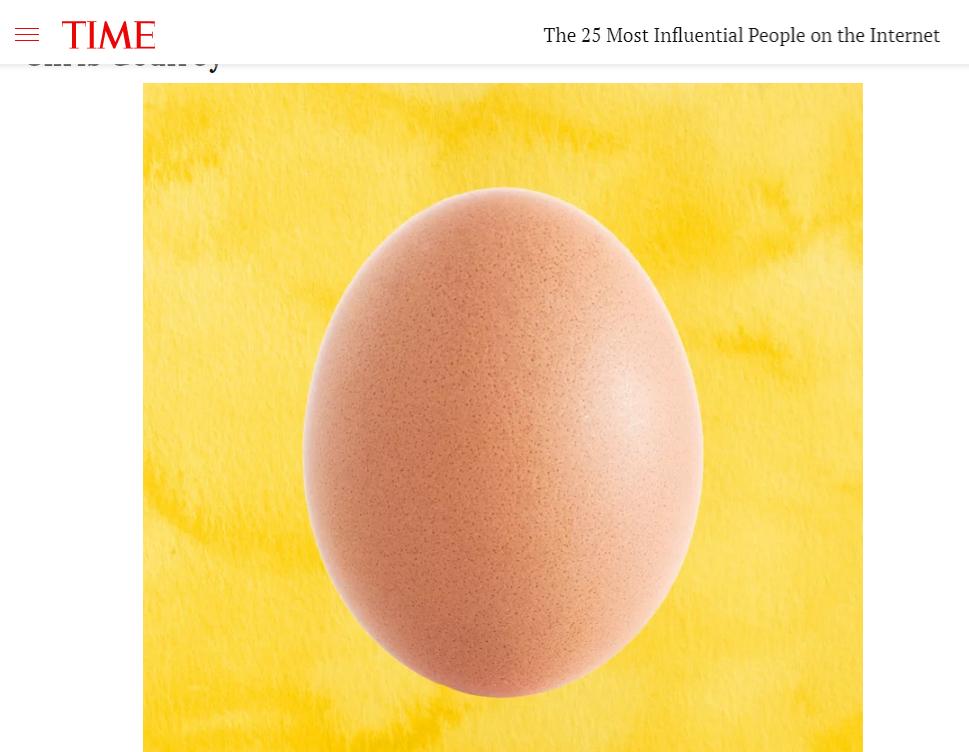 World Record Egg в списке самых влиятельных людей журнала Time