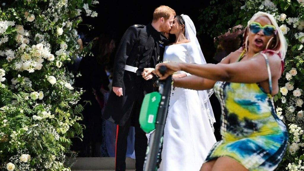 Женщина на самокате испортила свадебное фото