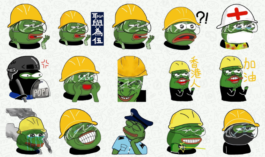 лягушонок Пепе в каске - символ протестов в Гонконге