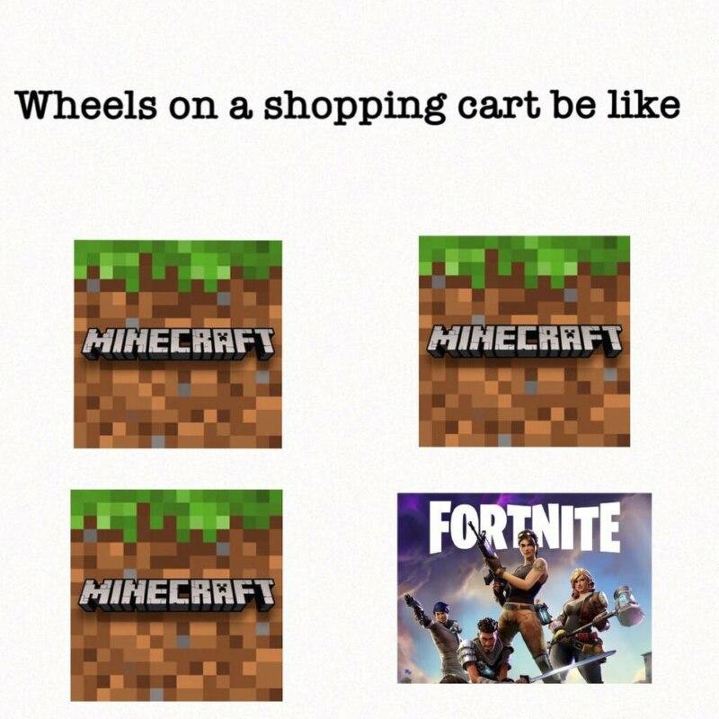 Мем про колеса у тележки в магазине