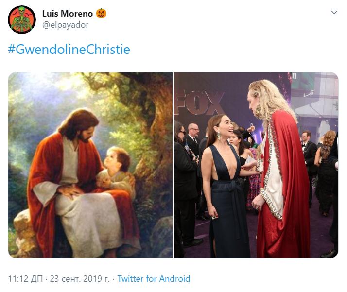 Гвендолин Кристи в платье Иисуса