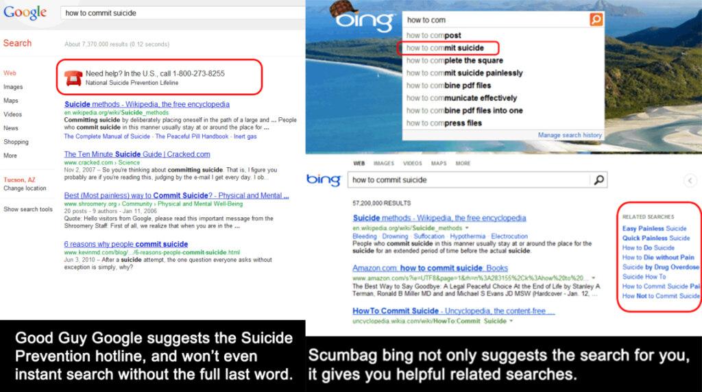 Google vs Bing meme