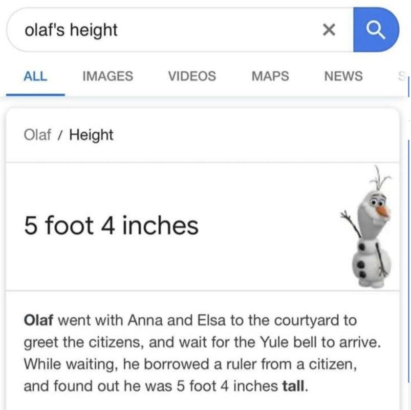 Какого роста Олаф