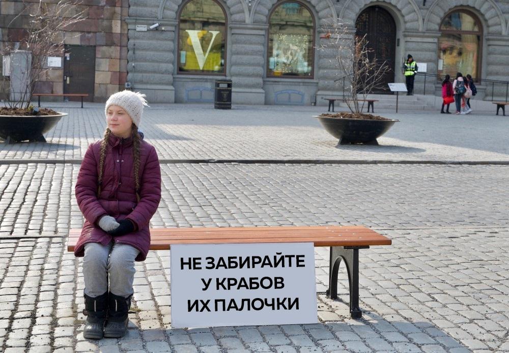Грета Тунберг с плакатом