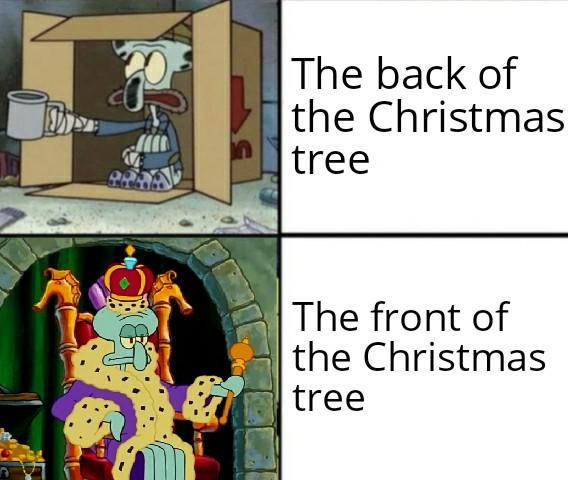 Задняя сторона елки и передняя сторона елки