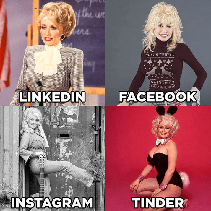 Linkedin, Facebook, Instagram, Tinder